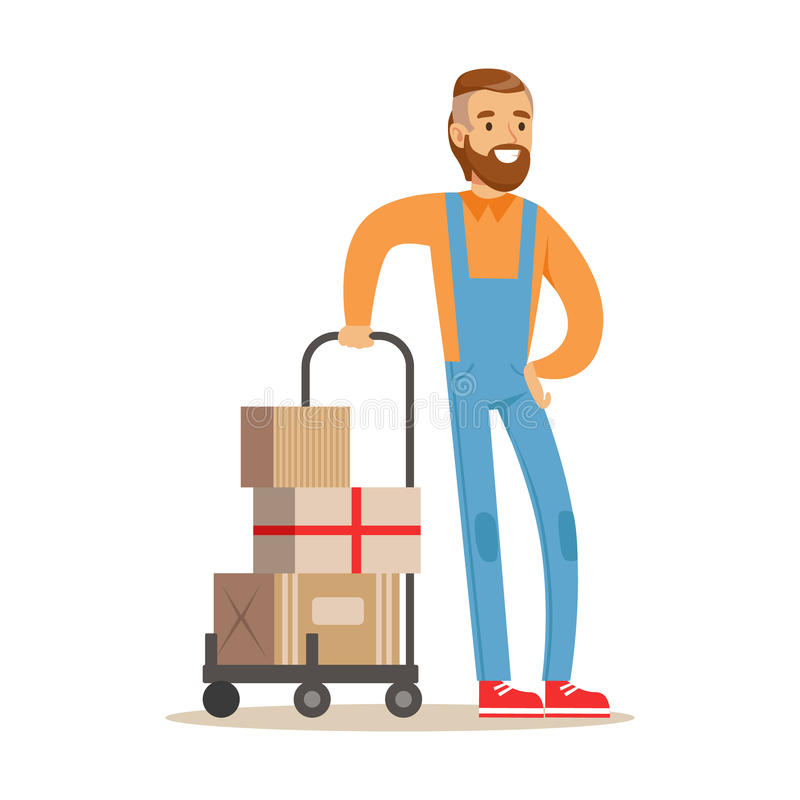Beardy Delivery Service Worker With Loaded Cart, Smiling Courier Delivering Packages Illustration. Vector Cartoon Male Character In Uniform Carrying Packed stock illustration