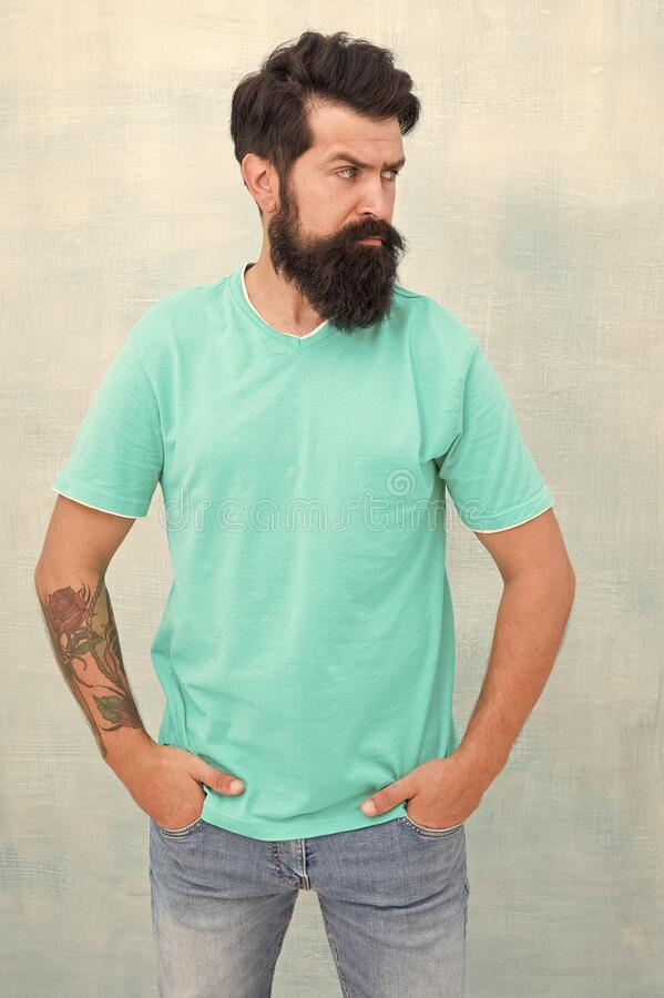 Beardy hipster. Hipster with stylish haircut isolated on white. Bearded man in trendy hipster style. Caucasian hipster stock photography