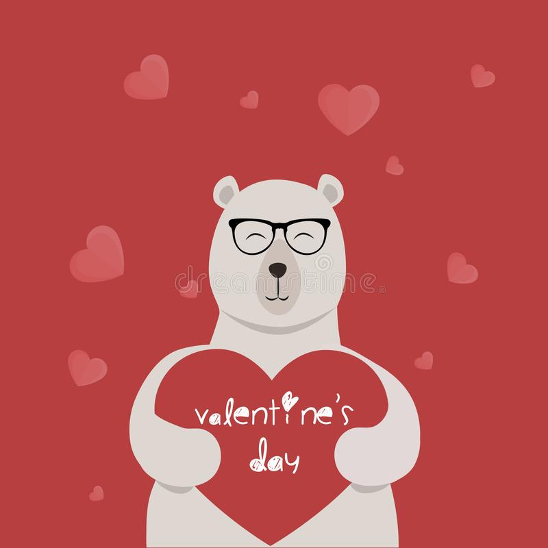 BEARING CARD FOR THE DAY OF SAN VALENTIN. LOVE CARD WITH LENS BEAR FOR THE DAY OF SAN VALENTIN royalty free illustration