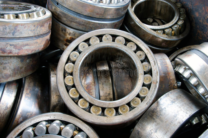 Bearing on plant. Stack broken bearing on plant, industrial bearings royalty free stock image