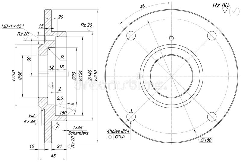 bearing sketch with chamfers  engineering drawing stock
