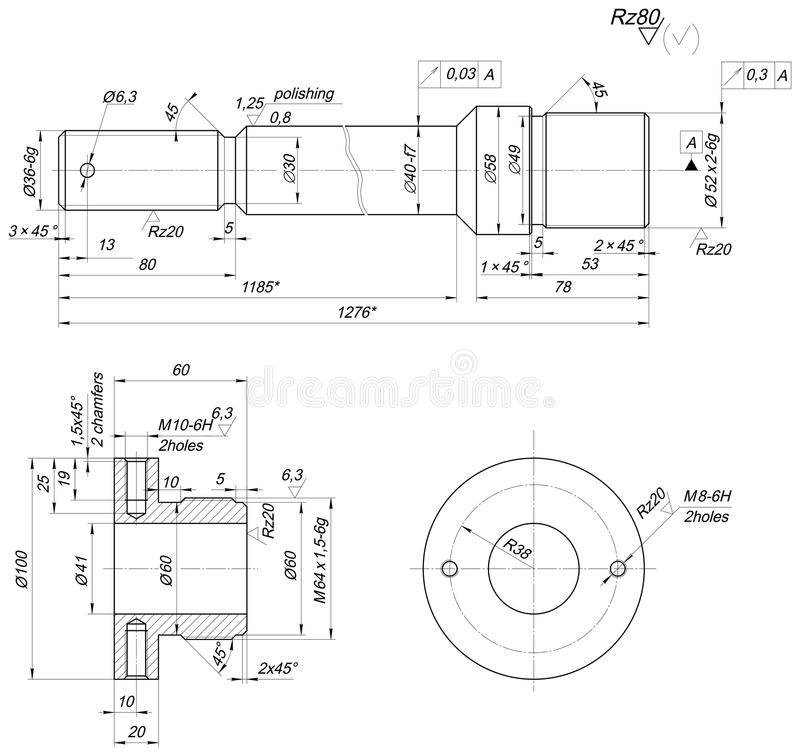 Drawing Lines In Autocad Using Bearings : Bearing sketch with polishing engineering drawing stock