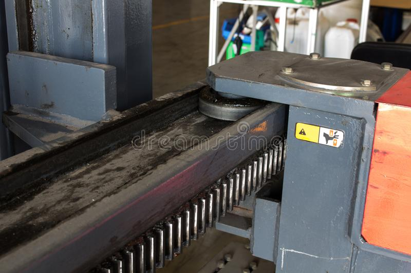 The bearing sliding roller in forklifts. The bearing sliding roller in forklifts royalty free stock image