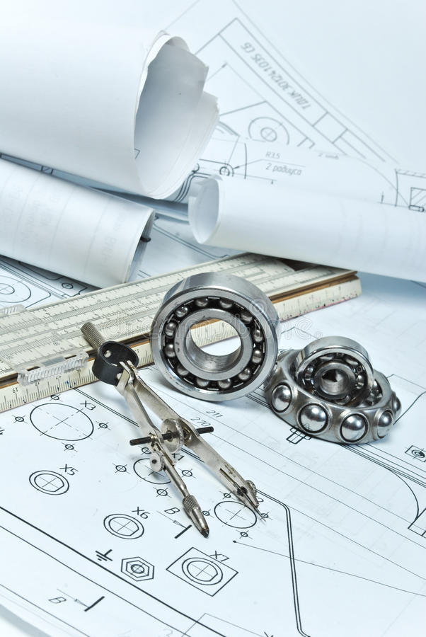 Bearings. And various tools on drawing stock photo