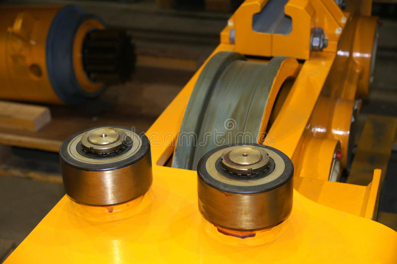 Bearings. Directing bearings are established before a rail wheel royalty free stock photography