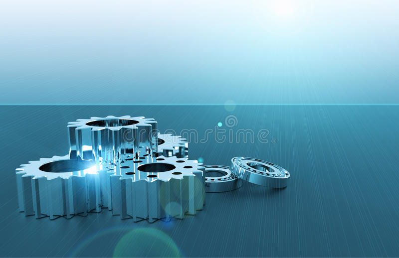 Bearings and gears. As a technology concept stock image