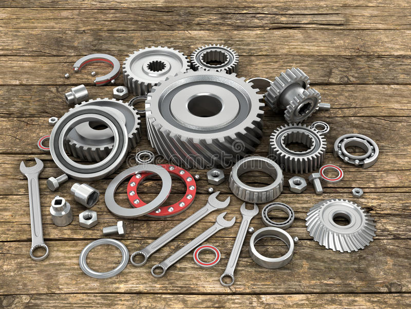 Bearings and gears on wooden background dosok. vector illustration