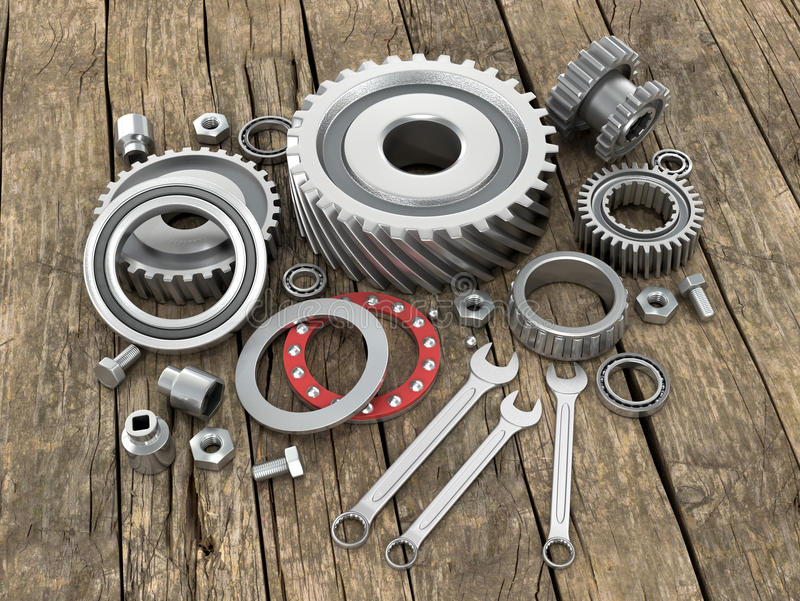 Bearings and gears on wooden background dosok. stock illustration