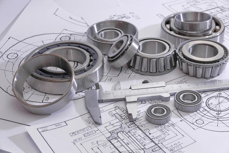 Bearings and many drawings royalty free stock photos