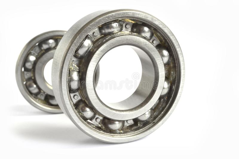 Bearings. Two close-up bearings on the white background stock photos