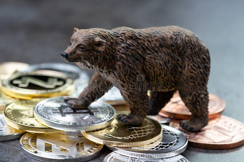 Bearish market concept, price down or falling demand collapse of stock photography