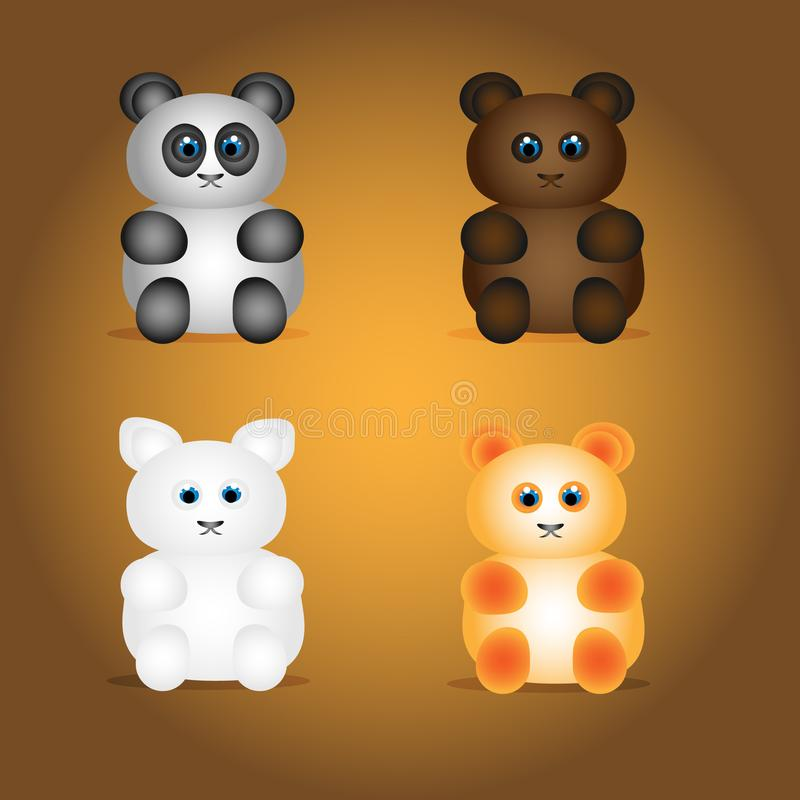 Bears collection. Four bears. Bears. Cute bears in collection. White, brown, orange and black and white bears vector illustration