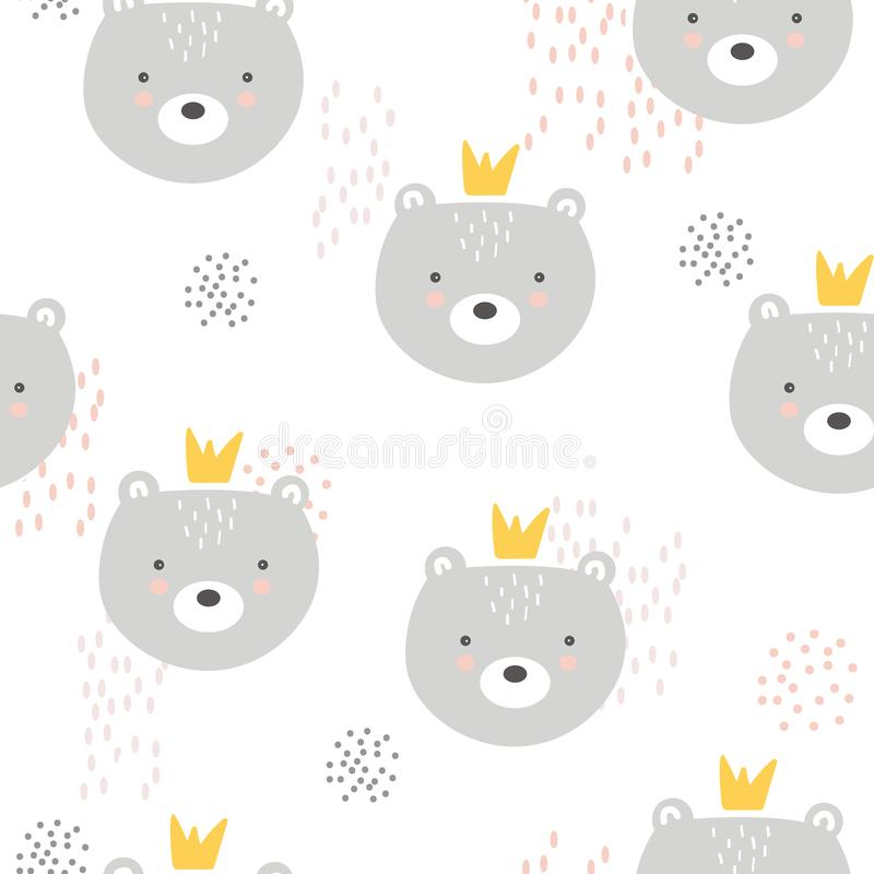 Bears with crowns, colorful seamless pattern. Decorative cute background with animals. Bears with crowns, hand drawn backdrop. Colorful seamless pattern with vector illustration