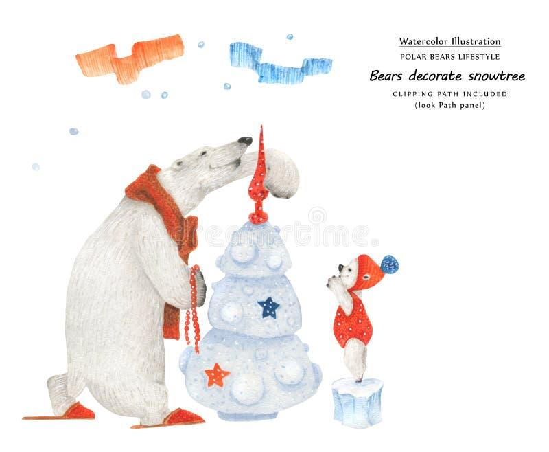 Bears decorate X-mas tree, close-up illustration royalty free illustration