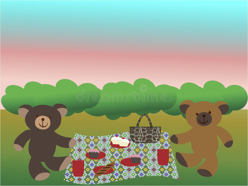 Download Bears Having A Picnic On The Grass Stock Vector - Image: 8234105