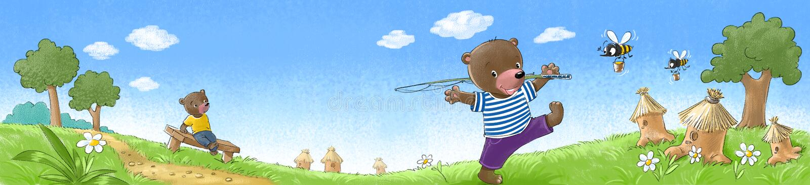 Bears on the lawn. Two happy bears with on the lawn with hives and bees royalty free illustration