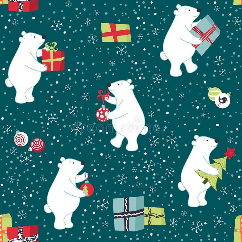 Bears are preparing for Christmas, preparing gifts, decorate the Christmas tree. vector illustration