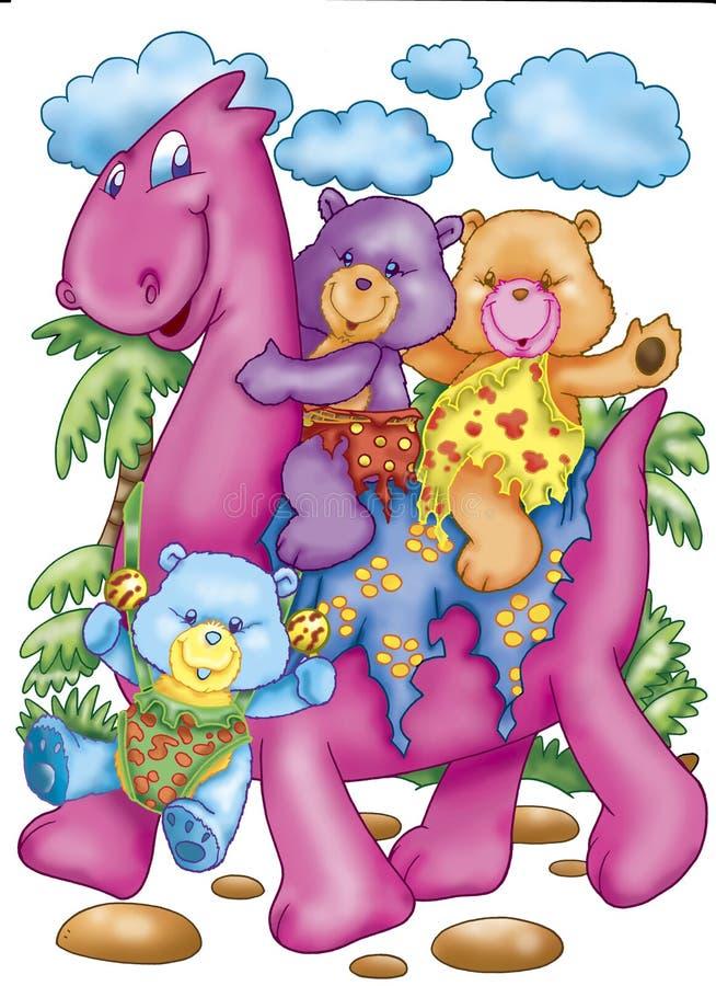Download Bears riding a dinosaur stock illustration. Image of plants - 7059996