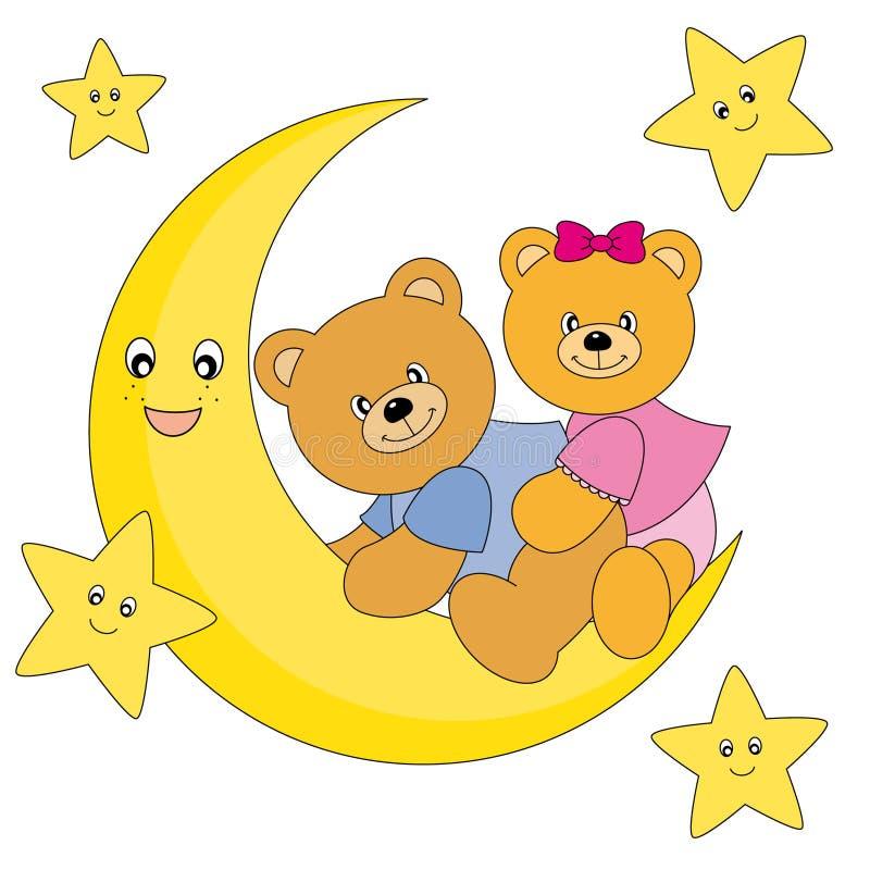 bears sitting on the moon stock vector illustration of. Black Bedroom Furniture Sets. Home Design Ideas
