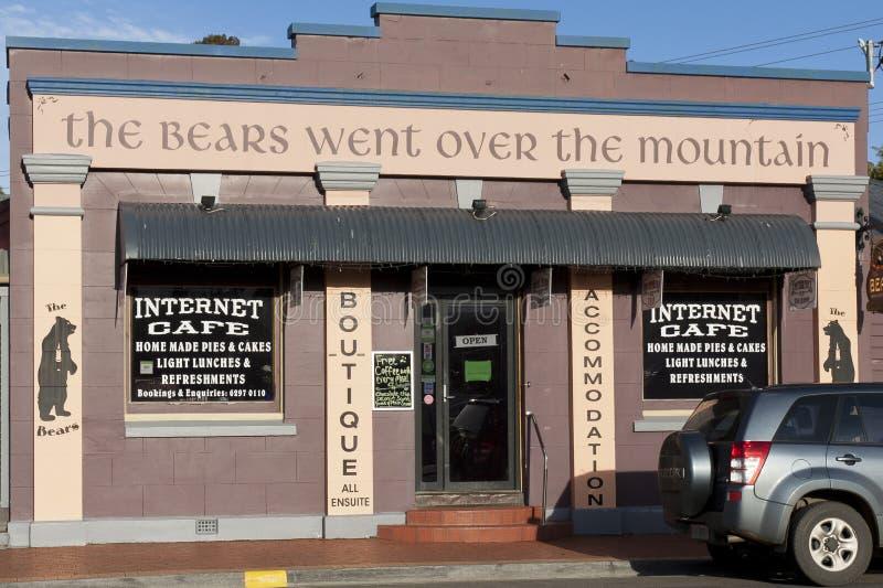 The bears went over the mountain. Internet cafe. Geeveston, Tasmania. stock photo