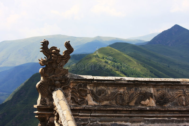 Beast roof. The 75.3-meter-high (247-feet-high) Tayuan Temple is the symbol of Mt. Wutaishan, so it becomes a must-see. Principally it possesses the white royalty free stock photos