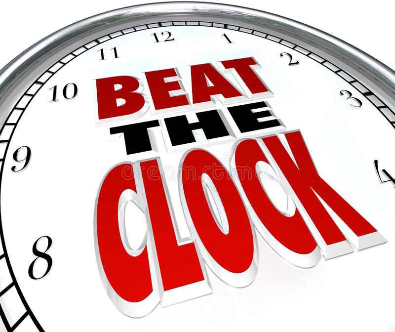 Beat the Clock Words Deadline Countdown. The words Beat the Clock on a clock face to illustrate the need to complete a task before a deadline or be the first to royalty free illustration