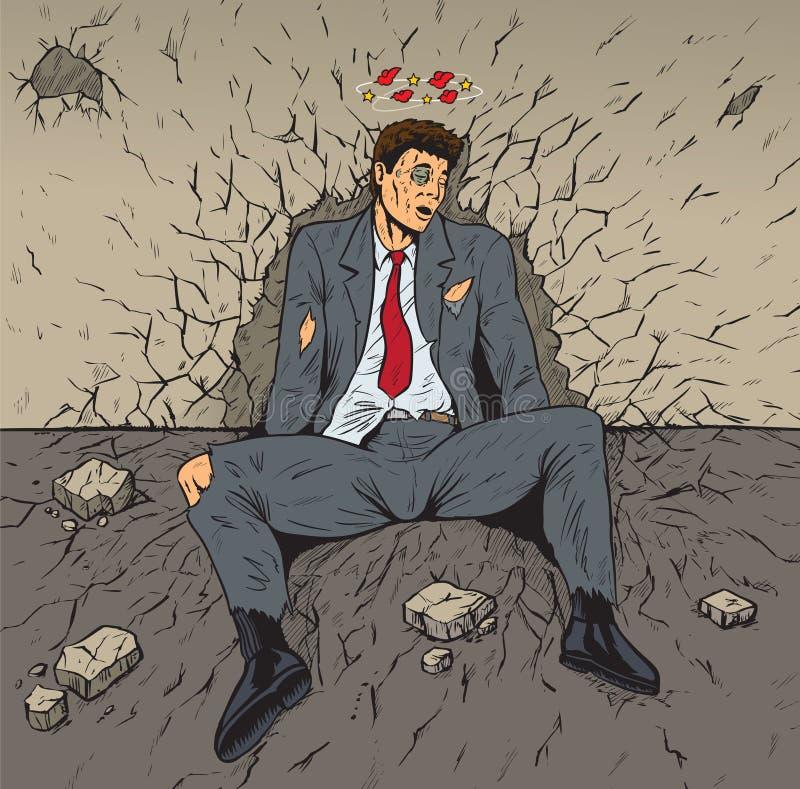Beaten businessman vector illustration