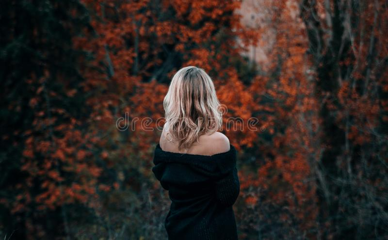 Beatiful blond woman dramatic portrait royalty free stock photo