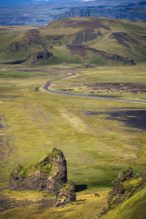 Beatiful landscape as seen from Dyrhólaey, Iceland royalty free stock images