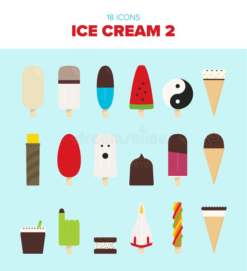 18 beatiful ice cream illustrations. Beautiful ice creams - both on stick and in cones. Colourful and delicious - ready to enjoy on a warm summer day vector illustration