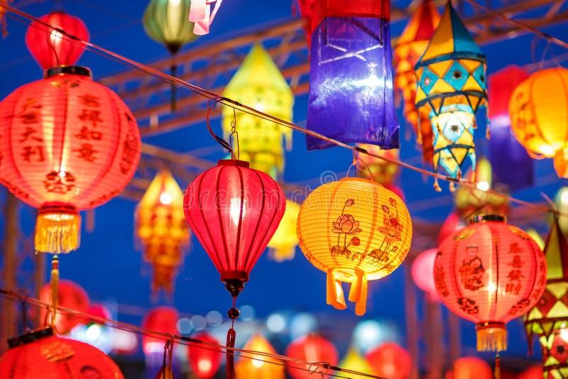 Beatiful international lantern illuminting in night time royalty free stock photos