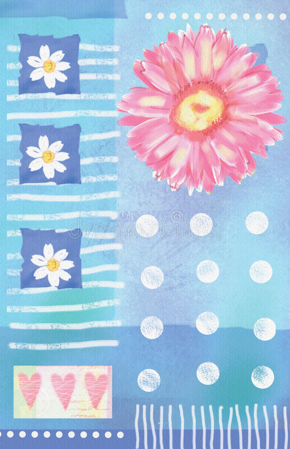 Beatiful postcard with gerbera flowers and hearts vector illustration