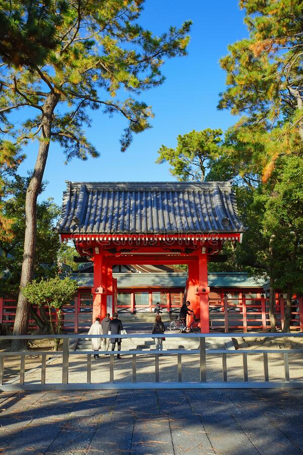 Beatiful scene of Sumiyoshi Taisha Shrine, Osaka city, Japan stock photos