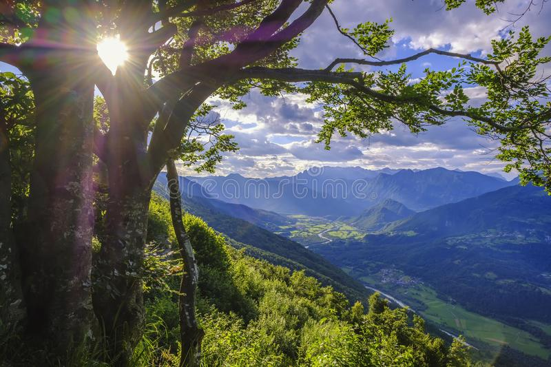 Beatiful Socha valley with Kobarid town in Slovenia. Shot with lens flare stock image