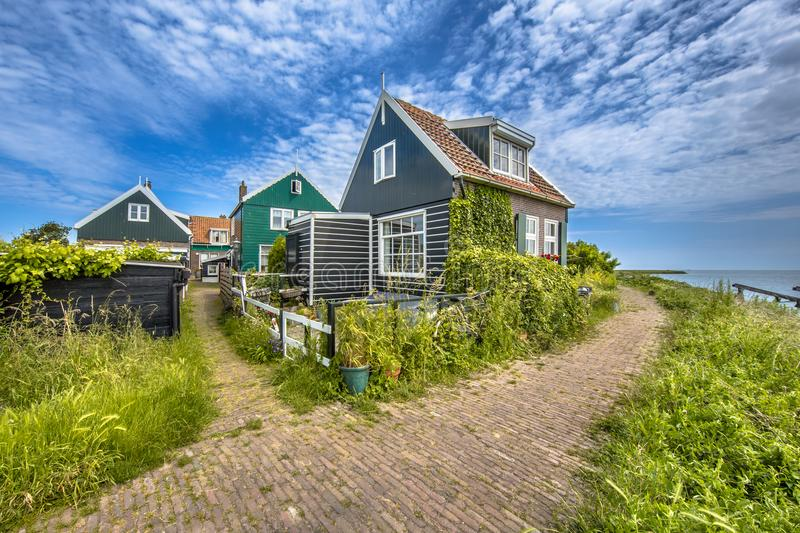 Beatiful street in typical fishing village of Rozewerf scene on royalty free stock images
