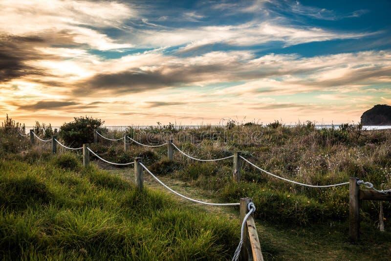 Beatiful sunset on Piha Beach, royalty free stock photos