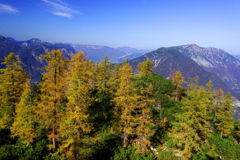 Scenic autumn landscape of the Austrian Alps from the Krippenstein Dachstein cable car. royalty free stock images