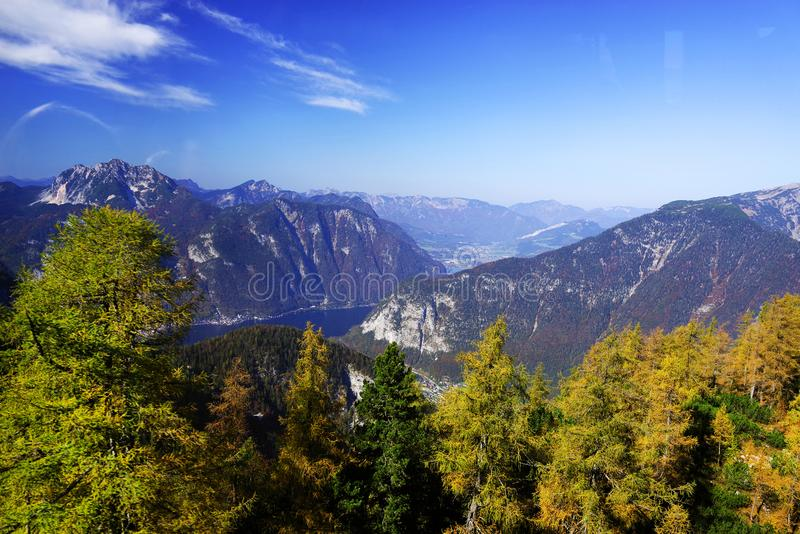 Scenic autumn landscape of the Austrian Alps from the Krippenstein Dachstein cable car. stock photography