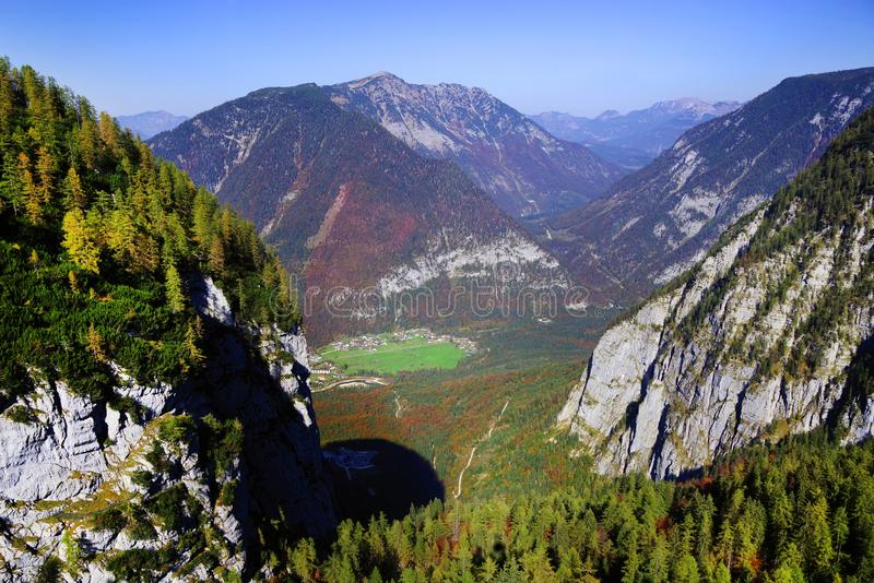 Scenic autumn landscape of the Austrian Alps from the Krippenstein Dachstein cable car. royalty free stock photography