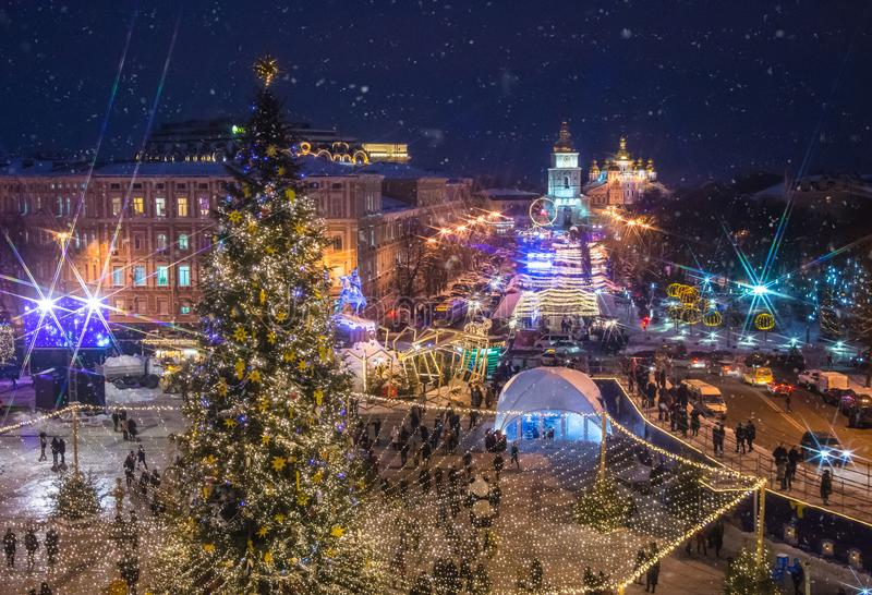 Beatiful view of Christmas on Sophia Square in Kyiv, Ukraine. Main Kyiv`s New Year tree and Saint Sophia Cathedral on the backgro. Und view stock images