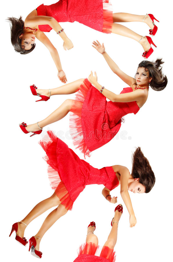 Beatiful woman broken doll falling down. Isolated royalty free stock photos