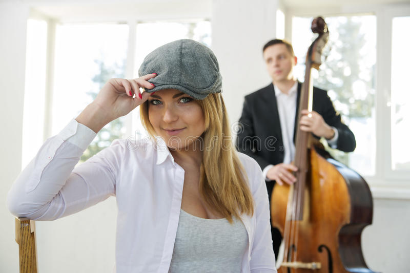 Beatiful woman at sunny day with hat royalty free stock images