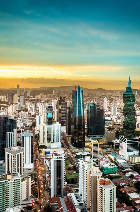 Beatifull landmark of Panama in the golden hour. Skyline of City of Panama at Panamá in Central America. Building screw in the golden hour stock photography
