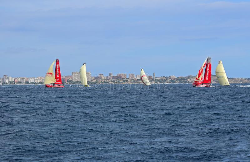 Sailing Both Ways Volvo Ocean Race Alicante 2017. Beating to and running with the wind under spinnakers or code 0 during the first leg of the round the World stock photography