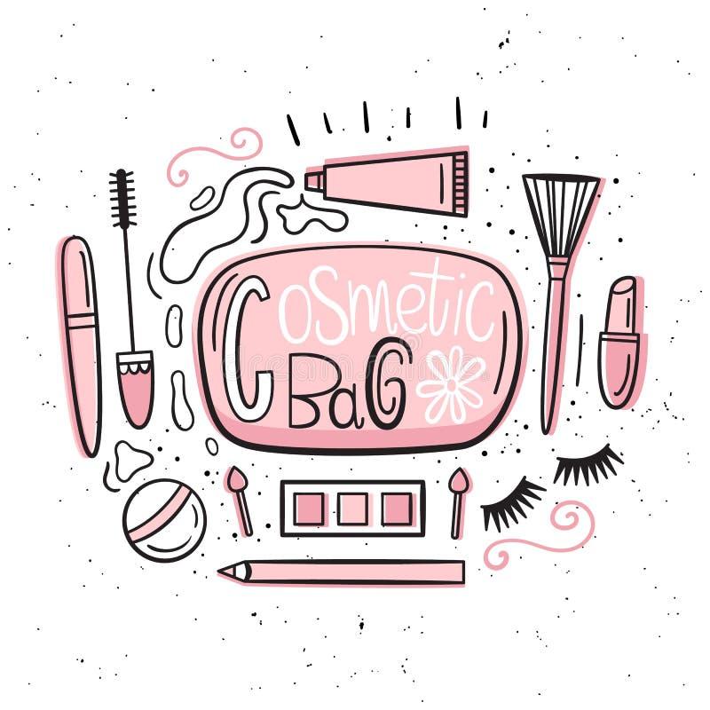 beatitude Иллюстрация вектора в нарисованном вручную стиле Комплект деталей которые в косметической сумке Косметики и ложное бесплатная иллюстрация