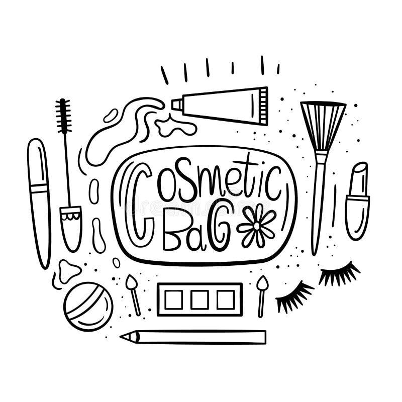 beatitude Иллюстрация вектора в нарисованном вручную стиле Комплект деталей которые в косметической сумке Косметики и ложное иллюстрация штока