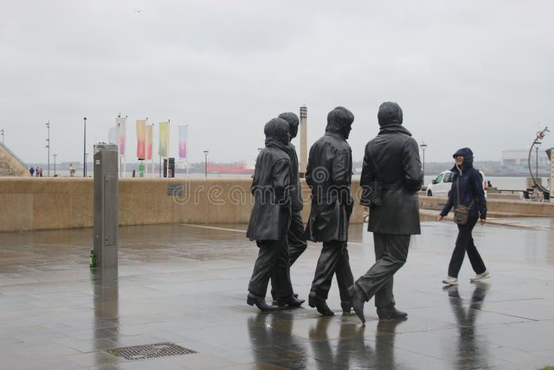 Beatles在利物浦船坞,英国的雕塑 免版税库存图片
