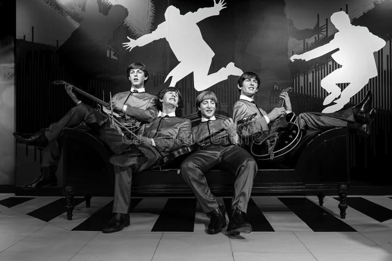 Beatles在显示的音乐小组蜡雕象在女士tussauds在香港 库存图片