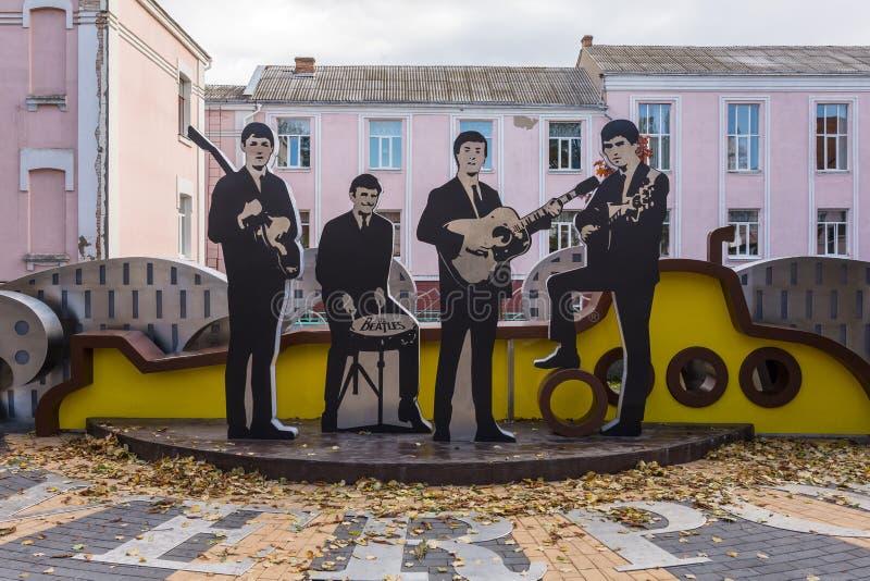 Beatles纪念碑在Vinnitsya市中心,乌克兰 库存图片
