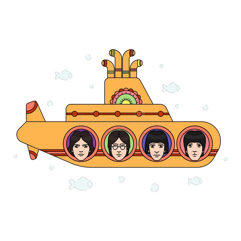 The Beatles band topics. November 19.2017 . Editorial illustration of the Beatles band members faces on the submarine background . World Beatles Day topic